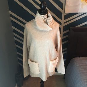 Magaschoni Oversized Cowl Neck Ivory Sweater